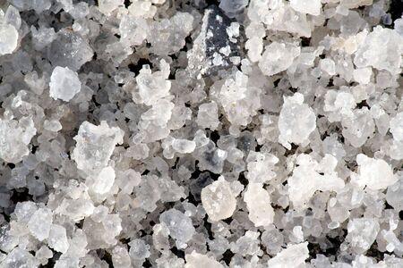 salt for snow road, close up photo
