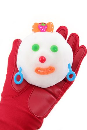 hand holding snowman with white background