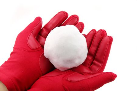 hand holding snowball with white background