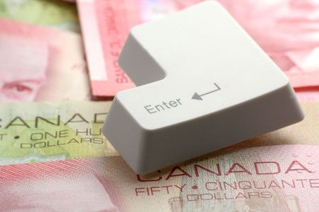 enter key: canadian dollars and a enter key, concept online shopping