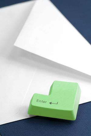 envelope and enter key, concept of email Stock Photo