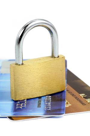 Close up of credit card and lock,  concept of security Stock Photo - 667775