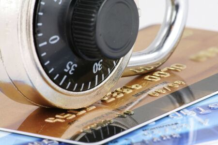 Close up of credit card and lock,  concept of security Stock Photo - 667764