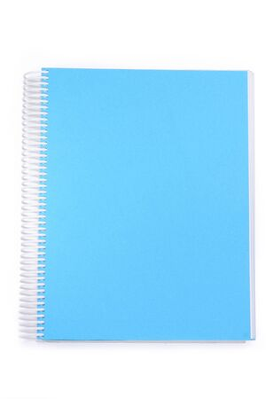 notebook: A blue spiral notebook.