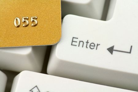 credit card and keyboard, concept online shopping or banking Stock Photo - 667737