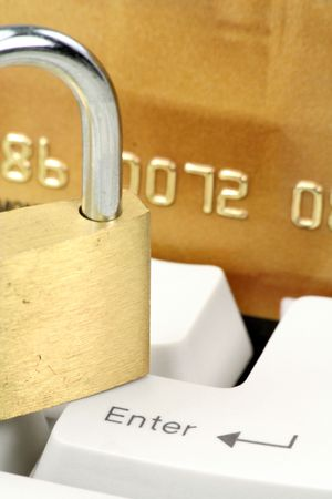 credit card, lock and keyboard, concept online shopping or banking safety Stock Photo - 670526