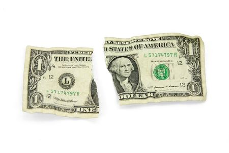 ripped: ripped usa dollar with white background Stock Photo