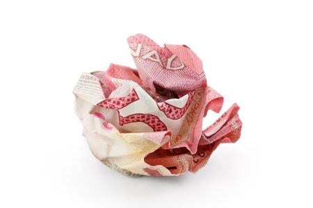 canadian cash: crumpled canadian dollar ball, business concept