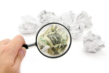 crumpled usa dollar ball, business concept photo