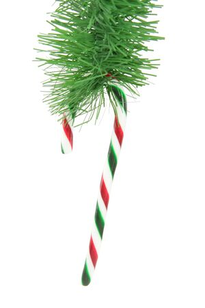 minty: Candy cane ornaments with white background Stock Photo