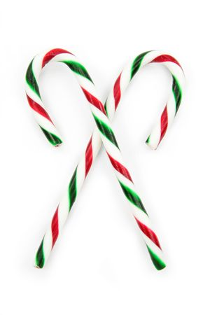 candy cane: Candy cane ornaments with white background Stock Photo