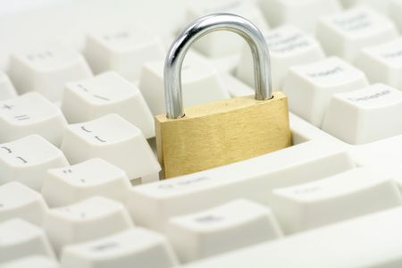 locking the enter key, concept of computer safety Stock Photo - 679365