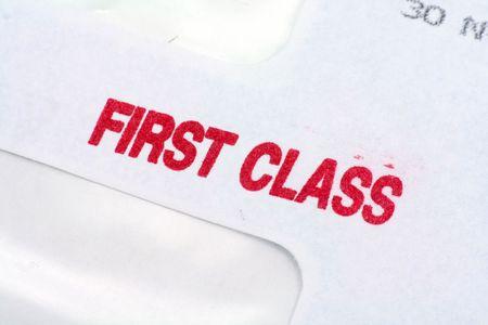 first class: first class mail, business concept