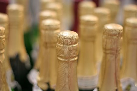 Champagne fles close-up Stockfoto