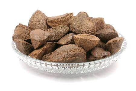 brazil nuts with white background photo