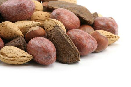 mix nuts close up shot, hazelnuts, brazil nut, almonds, pecan photo