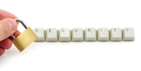 letter keys close up, concept of computer security protection Stock Photo - 687823