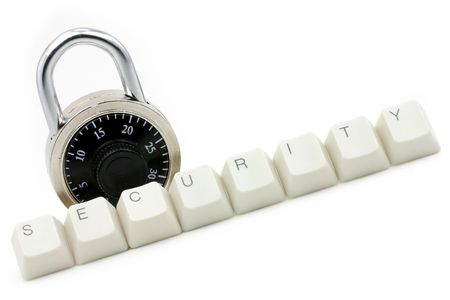 letter keys close up, concept of computer security protection Stock Photo - 687819