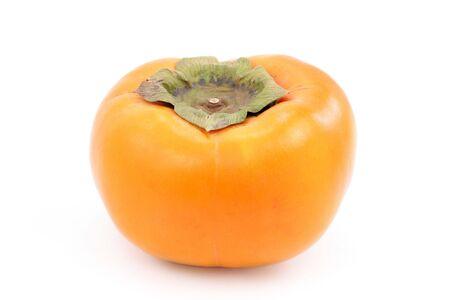 persimmon: A caqui maduro fresco, aislado en blanco. Foto de archivo