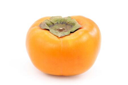 persimmon: A fresh ripe persimmon, isolated on white. Stock Photo
