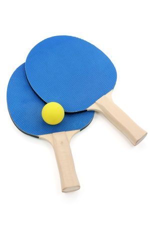 paddles: pingpong paddles and ball with white background Stock Photo