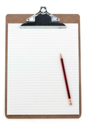clipboard and lined paper with white background Stock Photo - 697652