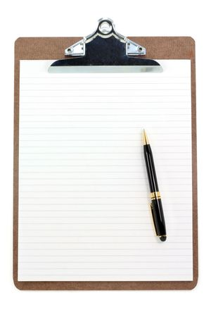 clipboard and lined paper with white background Stock Photo - 697653