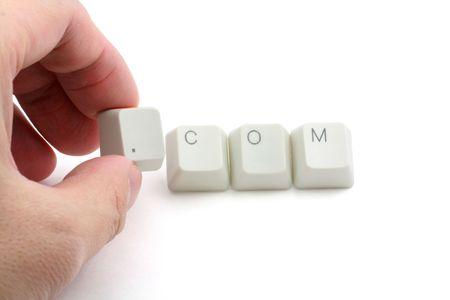 dot com: letter keys close up, concept of dot com Stock Photo
