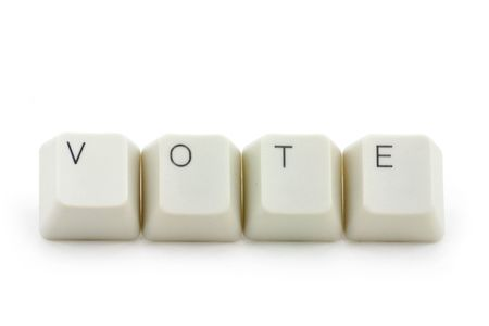 letter keys close up, concept of online vote Stock Photo - 709282
