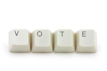 vote: letter keys close up, concept of online vote