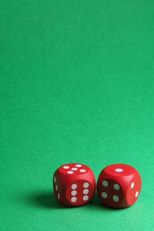red dices on green background Stock Photo - 718482
