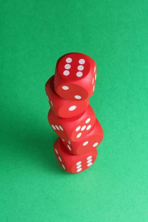 red dices on green background Stock Photo - 718483