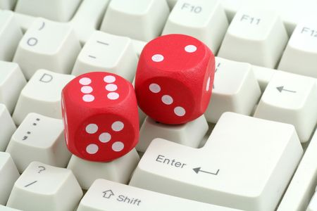 red dices and keyboard, concept of online gambling Stock Photo - 718495