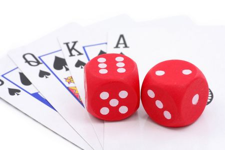 red dices and cards, concept of gambling Stock Photo - 718496