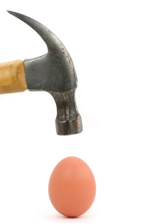 hammer and egg, concept of power 스톡 콘텐츠