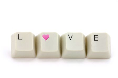 letter keys close up, concept of love photo