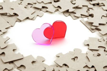 heart and puzzles, love concept