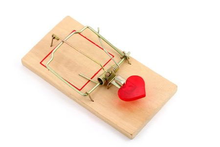 mousetrap: red heart and Mousetrap, love concept, with white background