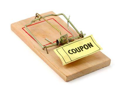 mousetrap: tagliando e trappola per topi, concetto di shopping trappola