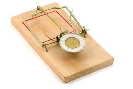mousetrap: canadain dollaro e trappola per topi, concetto di business trappola
