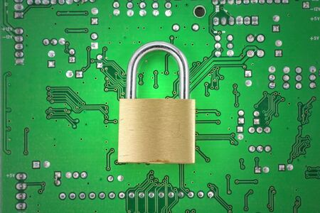 lock and circuit board, concept of online safety Stock Photo - 764144