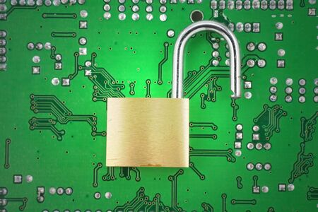 opened lock and circuit board, concept of computer safety Stock Photo - 764142