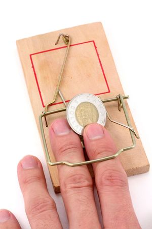 canadain dollar and Mousetrap, concept of business trap photo