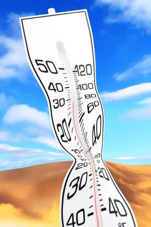 white thermometer close up, concept of global warming photo