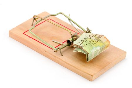 canadian dollar and Mousetrap, concept of business trap photo