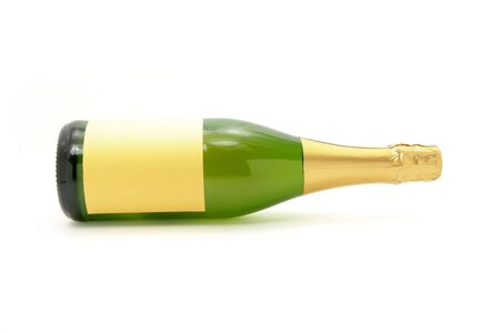 champagne bottle with white background close up shot photo