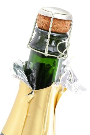 green glass bottle: champagne bottle with white background close up shot