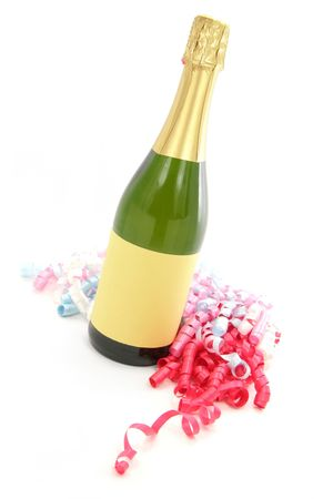 champagne bottle with white background photo