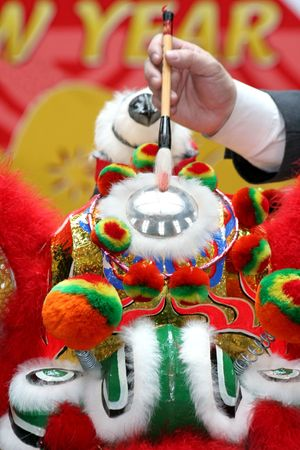 Eye Dotting Ceremony for lion dancing in chinese new year