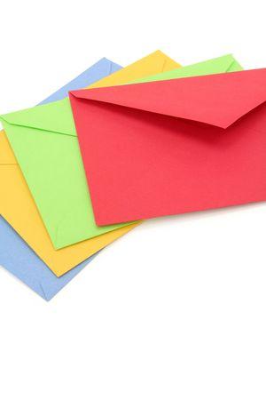 colorful envelopes, concept of communication
